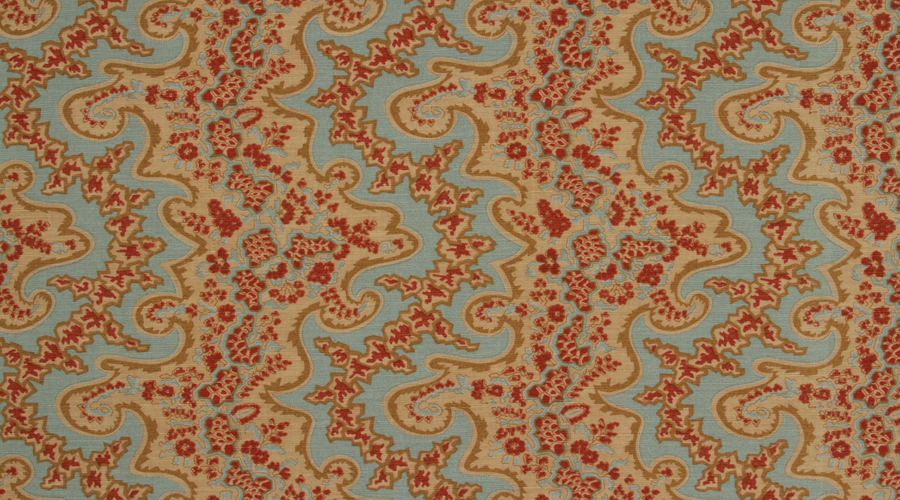 Adolphus Paisley Red & Aqua on Tan
